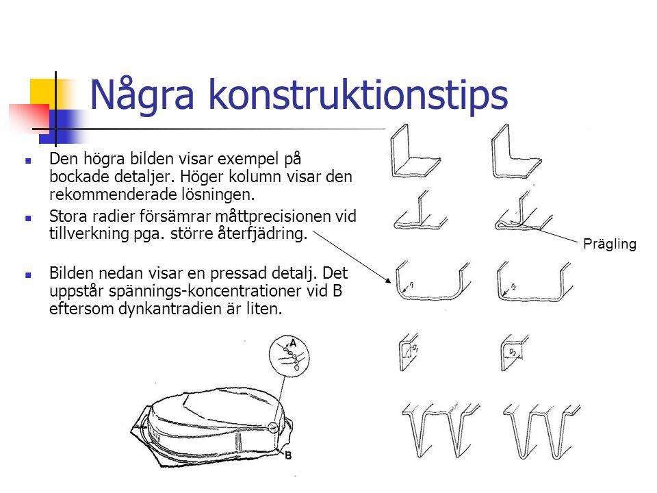 Några konstruktionstips Den högra bilden visar exempel på bockade detaljer.