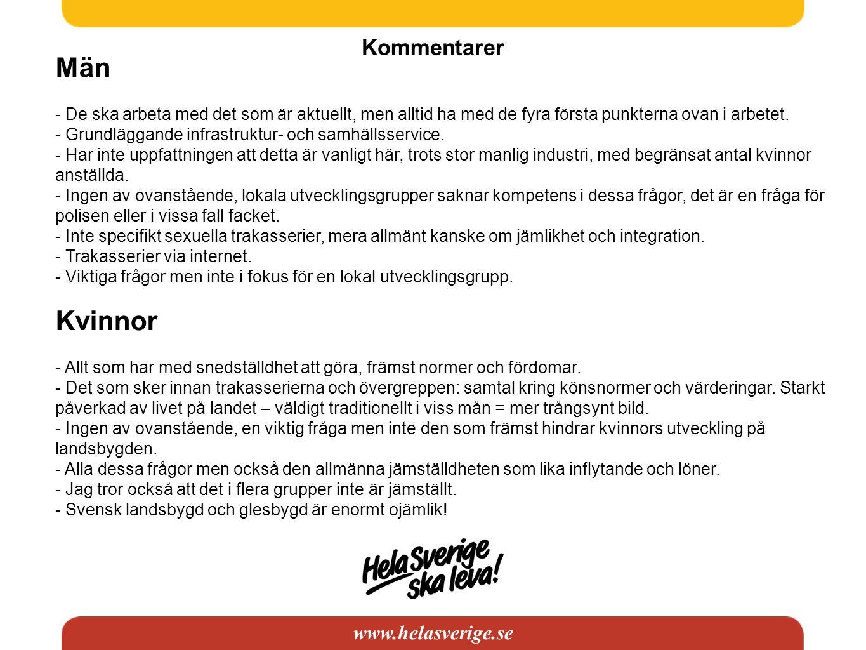 www.helasverige.se Kommentarer Män - De ska arbeta med det som är aktuellt, men alltid ha med de fyra första punkterna ovan i arbetet. - Grundläggande