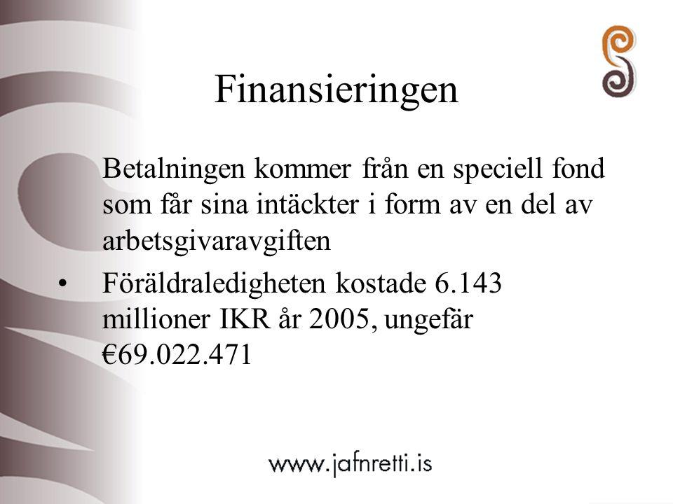 Finansieringen Betalningen kommer från en speciell fond som får sina intäckter i form av en del av arbetsgivaravgiften Föräldraledigheten kostade 6.14