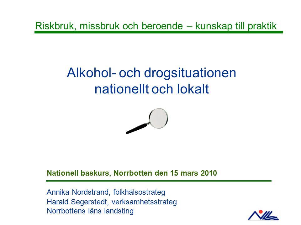 Upplägg Sverige i ett europeiskt perspektiv - vuxna och ungdomar: Jämförelser och utveckling, användning, skador/ konsekvenser -Källor: CAN, SoRAD, STAD, FHI Norrbotten och kommunerna - vuxna och ungdomar: Jämförelser och utveckling -Källor: FHI, CAN, Hälsosamtalet i skolan