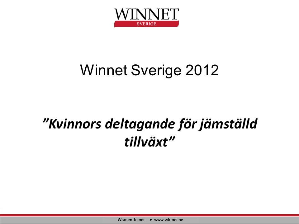 """Winnet Sverige 2012 """"Kvinnors deltagande för jämställd tillväxt"""" Women in net www.winnet.se"""