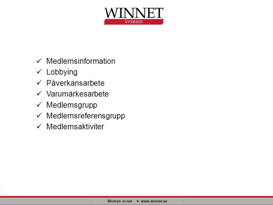 Women in net www.winnet.se Medlemsinformation Lobbying Påverkansarbete Varumärkesarbete Medlemsgrupp Medlemsreferensgrupp Medlemsaktiviter