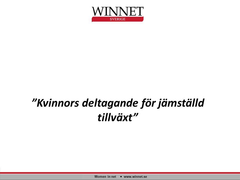 """""""Kvinnors deltagande för jämställd tillväxt"""" Women in net www.winnet.se"""
