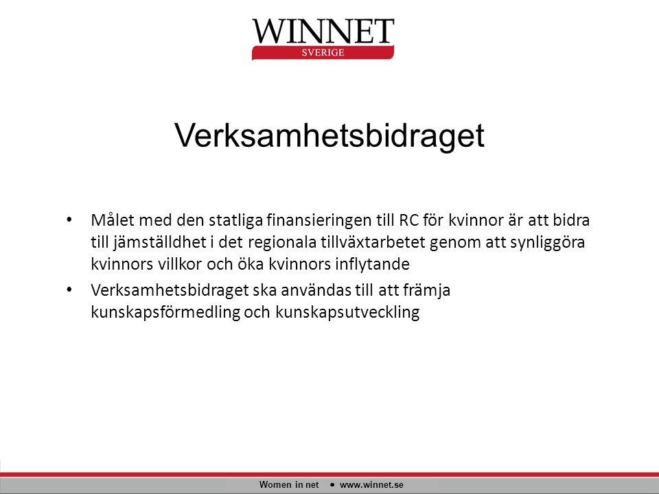 Verksamhetsbidraget Women in net www.winnet.se Målet med den statliga finansieringen till RC för kvinnor är att bidra till jämställdhet i det regional