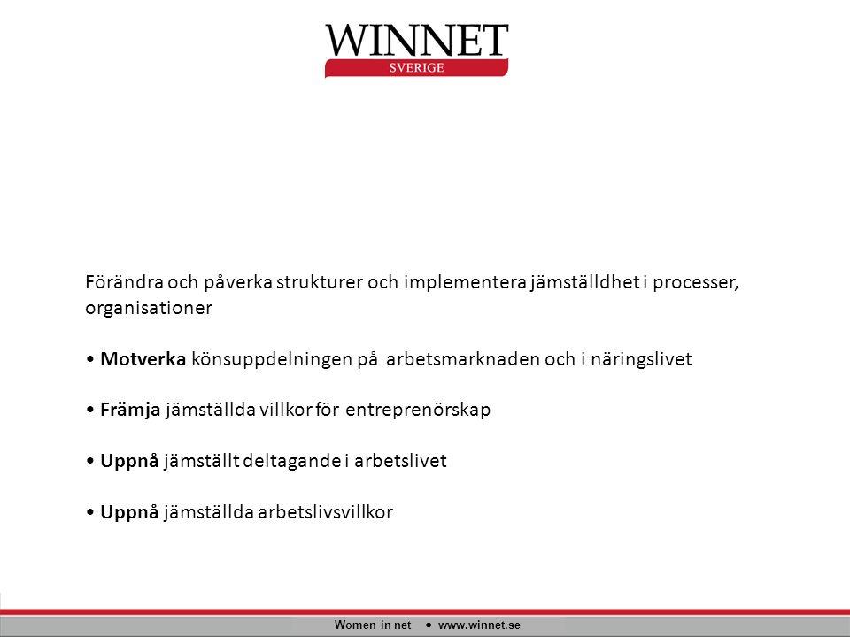 Women in net www.winnet.se Förändra och påverka strukturer och implementera jämställdhet i processer, organisationer Motverka könsuppdelningen på arbe