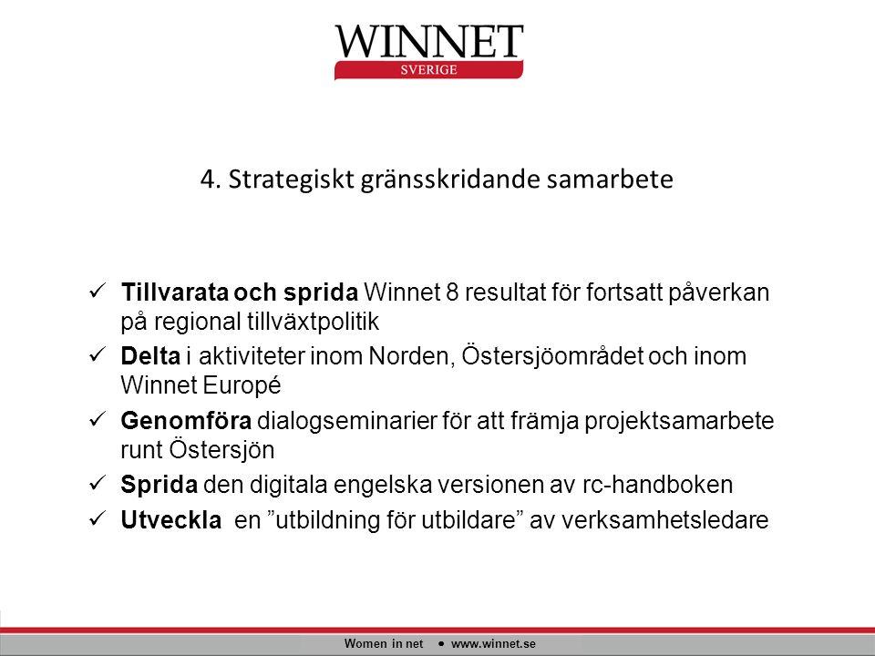 4. Strategiskt gränsskridande samarbete Women in net www.winnet.se Tillvarata och sprida Winnet 8 resultat för fortsatt påverkan på regional tillväxtp