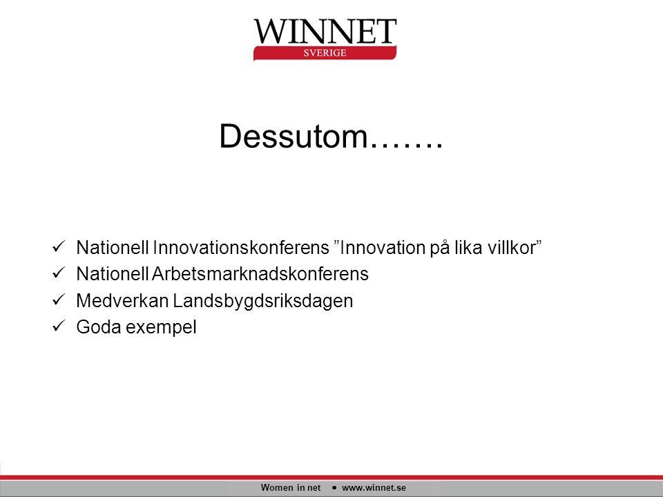 """Dessutom……. Women in net www.winnet.se Nationell Innovationskonferens """"Innovation på lika villkor"""" Nationell Arbetsmarknadskonferens Medverkan Landsby"""