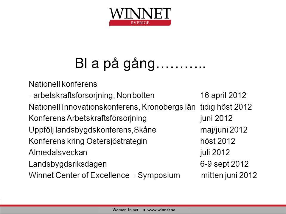 Bl a på gång……….. Women in net www.winnet.se Nationell konferens - arbetskraftsförsörjning, Norrbotten16 april 2012 Nationell Innovationskonferens, Kr