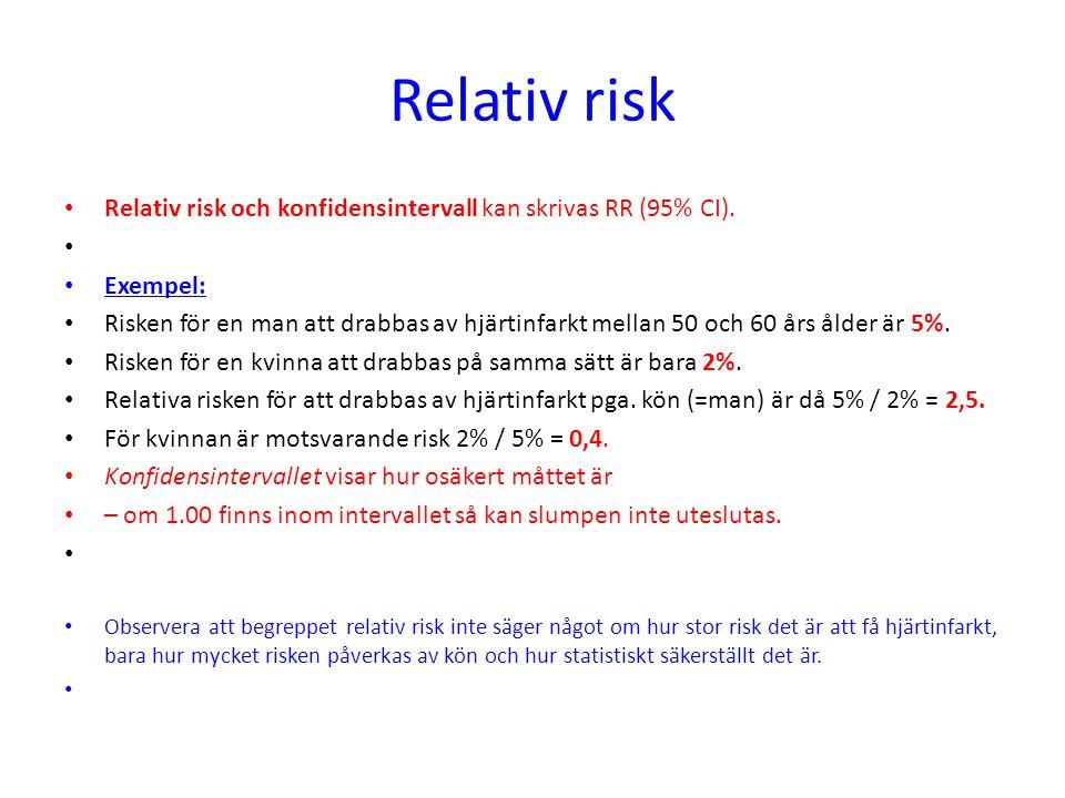 Relativ risk Relativ risk och konfidensintervall kan skrivas RR (95% CI). Exempel: Risken för en man att drabbas av hjärtinfarkt mellan 50 och 60 års
