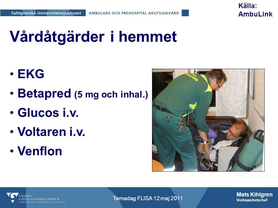 Mats Kihlgren Verksamhetschef Temadag FLISA 12 maj 2011 Vårdåtgärder i hemmet EKG Betapred (5 mg och inhal.) Glucos i.v.