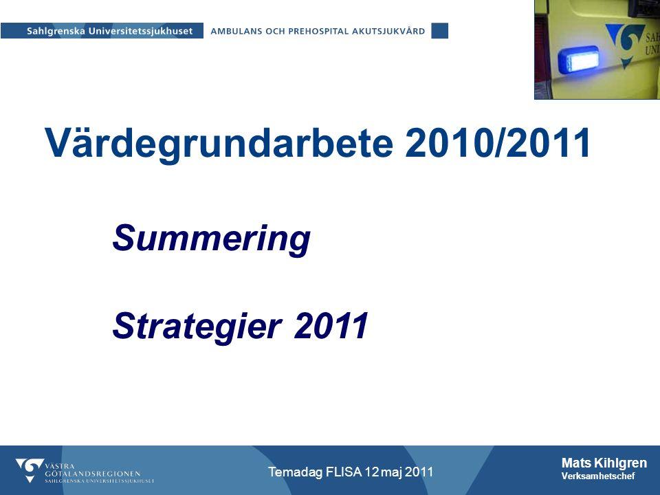 Mats Kihlgren Verksamhetschef Temadag FLISA 12 maj 2011 Värdegrundarbete 2010/2011 Summering Strategier 2011