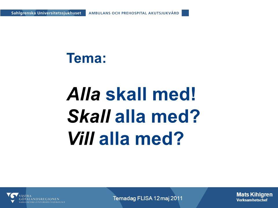 Mats Kihlgren Verksamhetschef Temadag FLISA 12 maj 2011 Tema: Alla skall med Skall alla med Vill alla med Tema: Alla skall med.