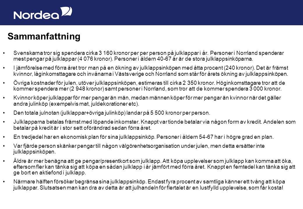Sida 20 Sammanfattning Svenskarna tror sig spendera cirka 3 160 kronor per per person på julklappar i år. Personer i Norrland spenderar mest pengar på