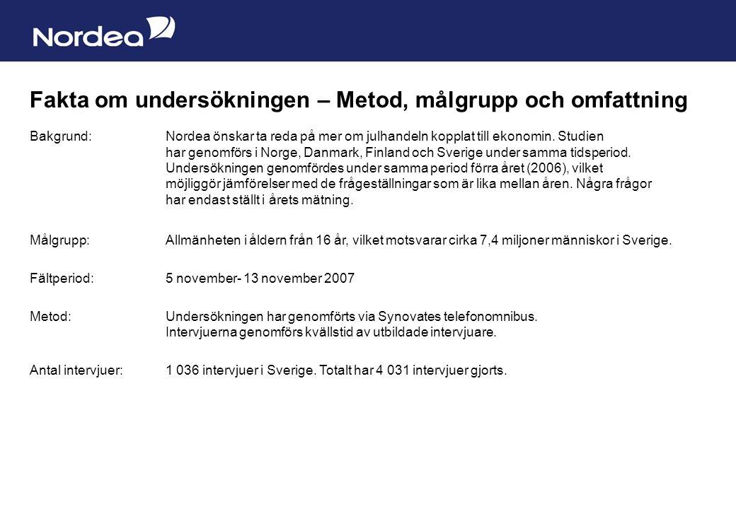 Sida 21 Fakta om undersökningen – Metod, målgrupp och omfattning Bakgrund: Nordea önskar ta reda på mer om julhandeln kopplat till ekonomin. Studien h