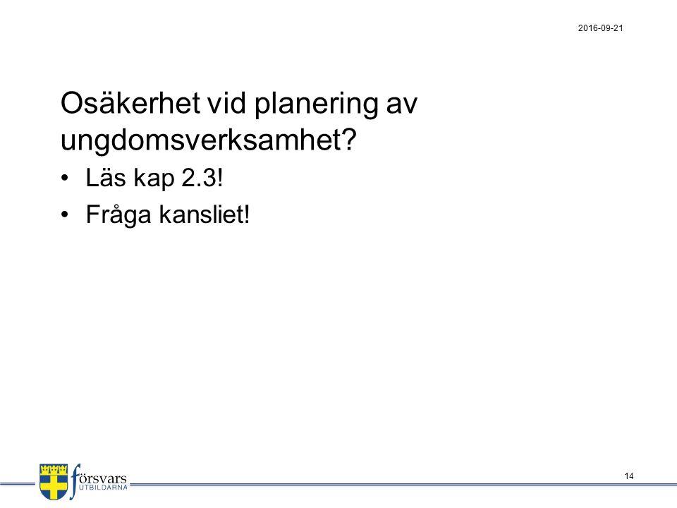 Osäkerhet vid planering av ungdomsverksamhet Läs kap 2.3! Fråga kansliet! 2016-09-21 14