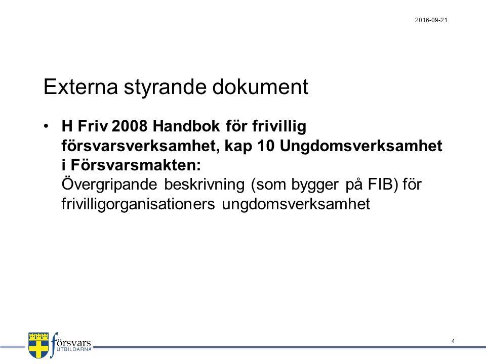 Parallella styrande dokument för HvU FFS 2000:6 Försvarsmaktens föreskrifter om hemvärnet: § 6 Hänvisning till FIB 1996:8 gällande genomförande av Hemvärnets ungdomsverksamhet.