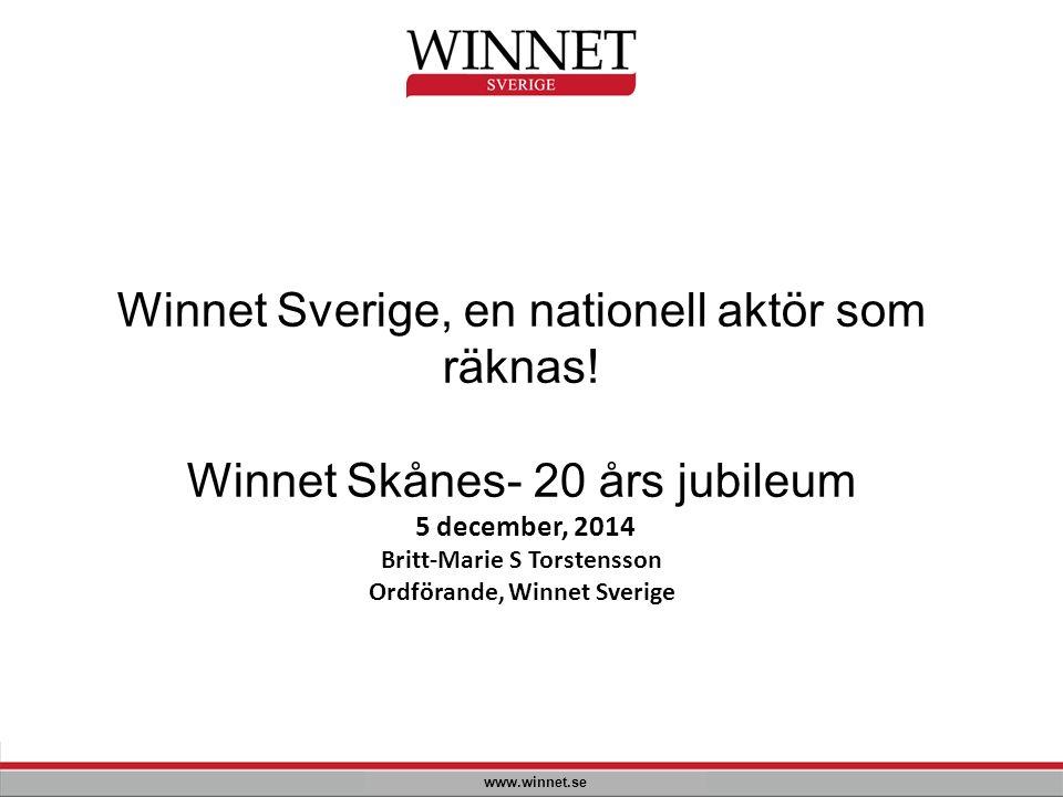 Winnet Sverige, en nationell aktör som räknas! Winnet Skånes- 20 års jubileum 5 december, 2014 Britt-Marie S Torstensson Ordförande, Winnet Sverige ww