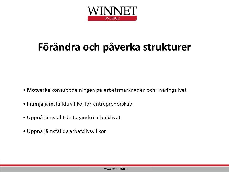 Förändra och påverka strukturer www.winnet.se Motverka könsuppdelningen på arbetsmarknaden och i näringslivet Främja jämställda villkor för entreprenö