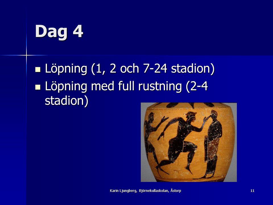Dag 4 Löpning (1, 2 och 7-24 stadion) Löpning (1, 2 och 7-24 stadion) Löpning med full rustning (2-4 stadion) Löpning med full rustning (2-4 stadion) 11Karin Ljungberg, Björnekullaskolan, Åstorp