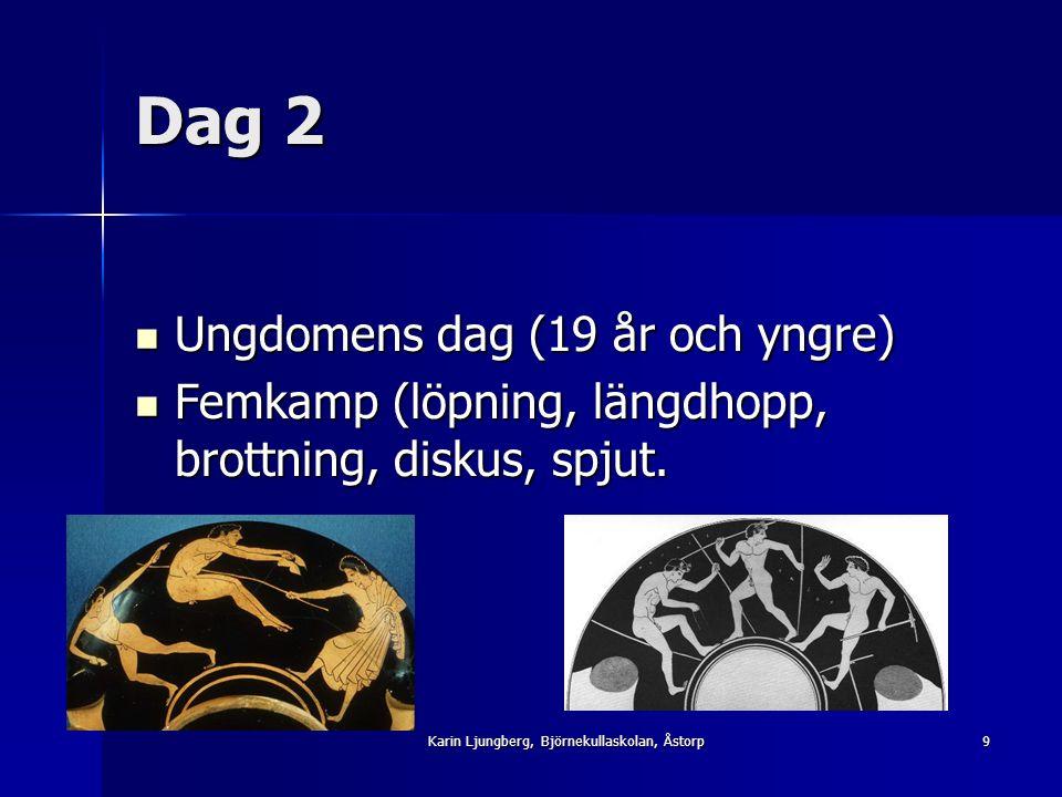 Dag 2 Ungdomens dag (19 år och yngre) Ungdomens dag (19 år och yngre) Femkamp (löpning, längdhopp, brottning, diskus, spjut.