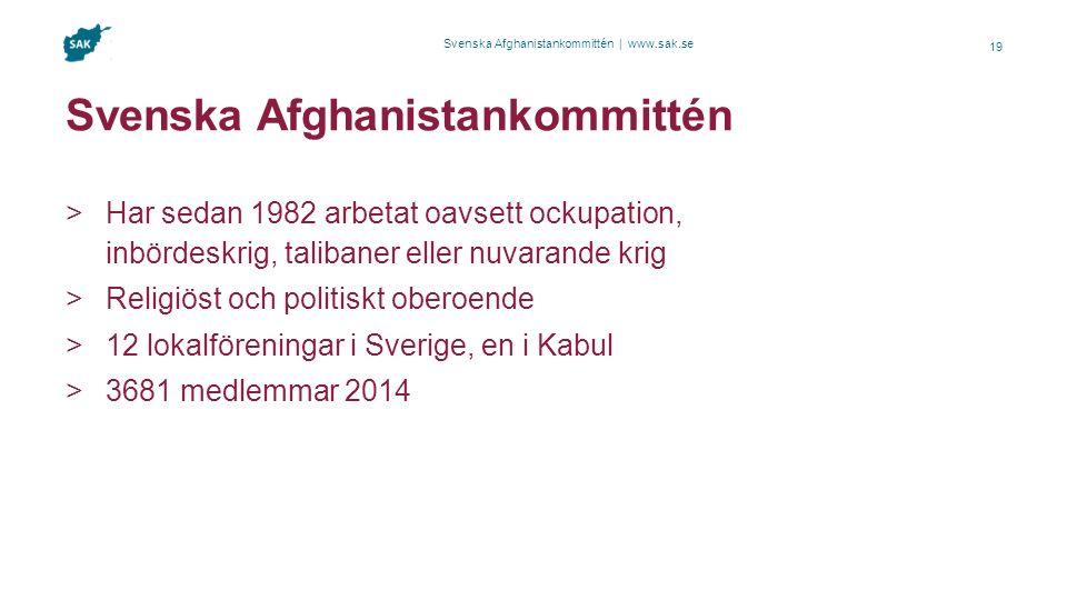 Svenska Afghanistankommittén | www.sak.se Svenska Afghanistankommittén  Har sedan 1982 arbetat oavsett ockupation, inbördeskrig, talibaner eller nuvarande krig  Religiöst och politiskt oberoende  12 lokalföreningar i Sverige, en i Kabul  3681 medlemmar 2014 19