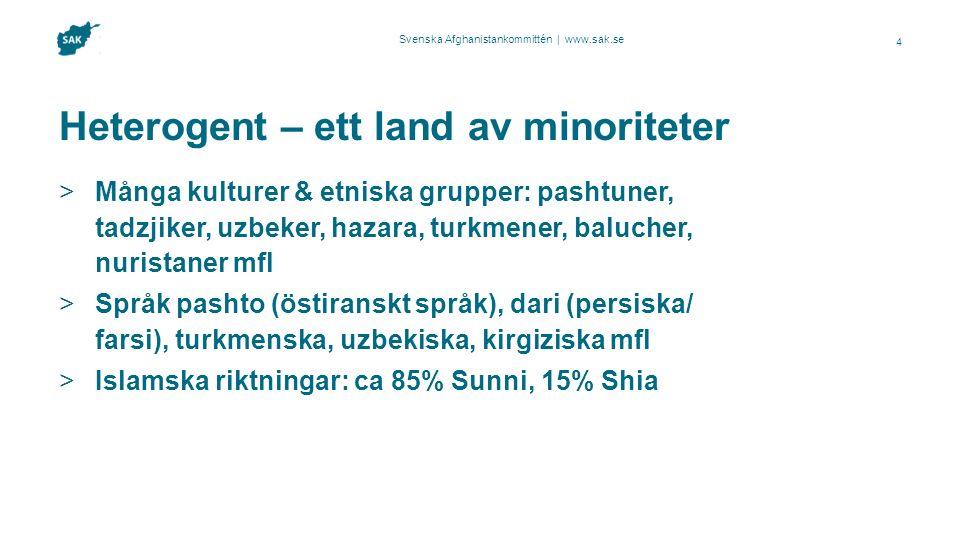 Svenska Afghanistankommittén | www.sak.se Heterogent – ett land av minoriteter  Många kulturer & etniska grupper: pashtuner, tadzjiker, uzbeker, haza