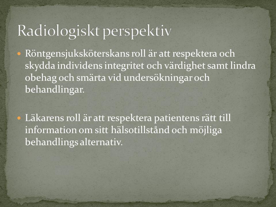 Vårdförbundet.(2008) Yrkesetisk kod för röntgensjuksköterskor.