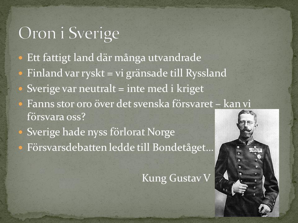 Ett fattigt land där många utvandrade Finland var ryskt = vi gränsade till Ryssland Sverige var neutralt = inte med i kriget Fanns stor oro över det svenska försvaret – kan vi försvara oss.