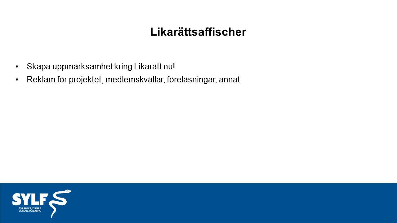 Likarättsaffischer Skapa uppmärksamhet kring Likarätt nu! Reklam för projektet, medlemskvällar, föreläsningar, annat