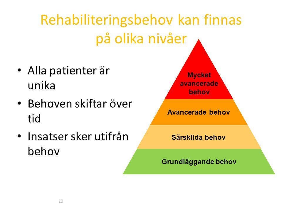 Rehabiliteringsbehov kan finnas på olika nivåer Alla patienter är unika Behoven skiftar över tid Insatser sker utifrån behov 10 Grundläggande behov Särskilda behov Avancerade behov Mycket avancerade behov