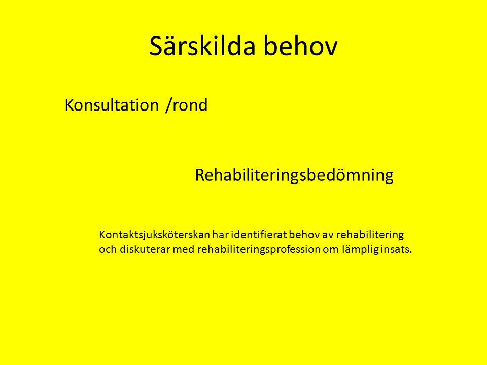 Särskilda behov Konsultation /rond Rehabiliteringsbedömning Kontaktsjuksköterskan har identifierat behov av rehabilitering och diskuterar med rehabiliteringsprofession om lämplig insats.