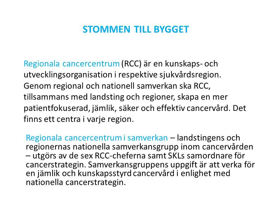 Regionala cancercentrum i samverkan – landstingens och regionernas nationella samverkansgrupp inom cancervården – utgörs av de sex RCC-cheferna samt SKLs samordnare för cancerstrategin.