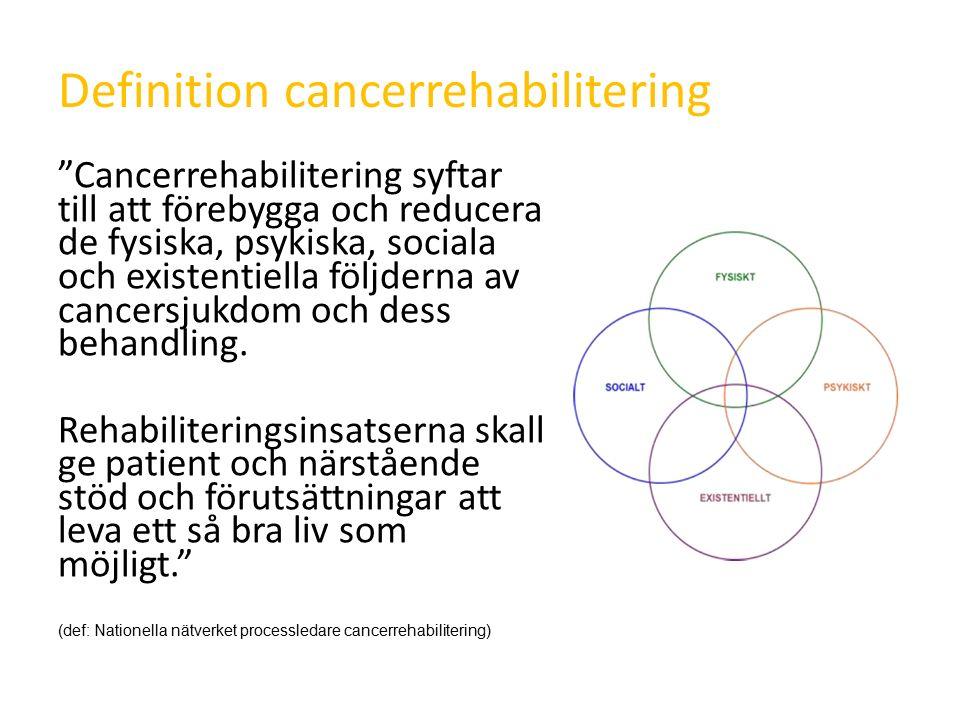 Definition cancerrehabilitering Cancerrehabilitering syftar till att förebygga och reducera de fysiska, psykiska, sociala och existentiella följderna av cancersjukdom och dess behandling.