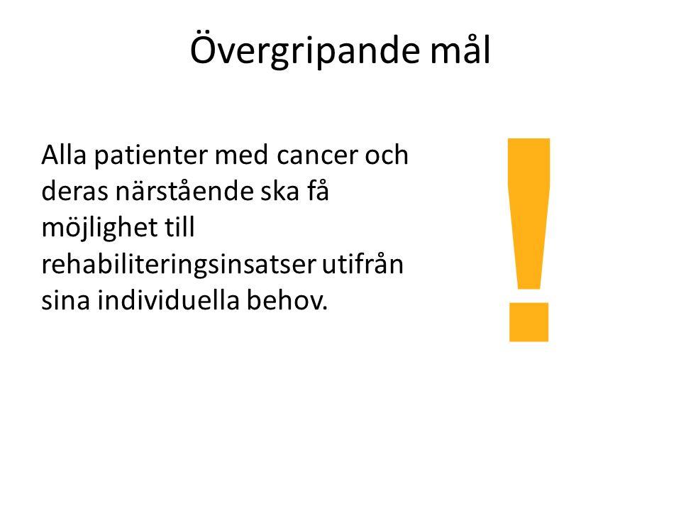 Övergripande mål Alla patienter med cancer och deras närstående ska få möjlighet till rehabiliteringsinsatser utifrån sina individuella behov.