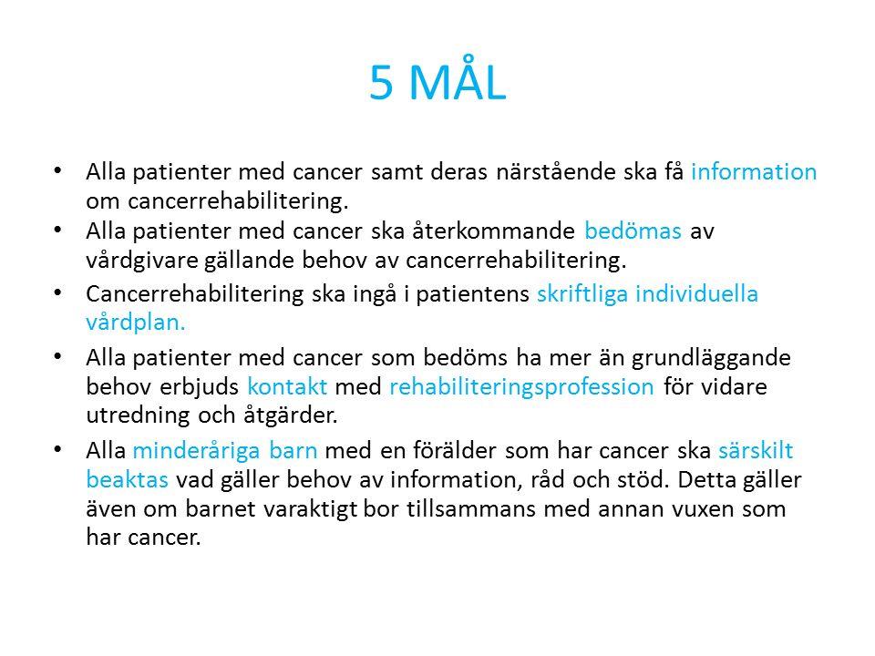 Cancerplanen 2014 -2015 Från 2015 ska alla patienter få sitt rehabiliteringsbehov bedömt.