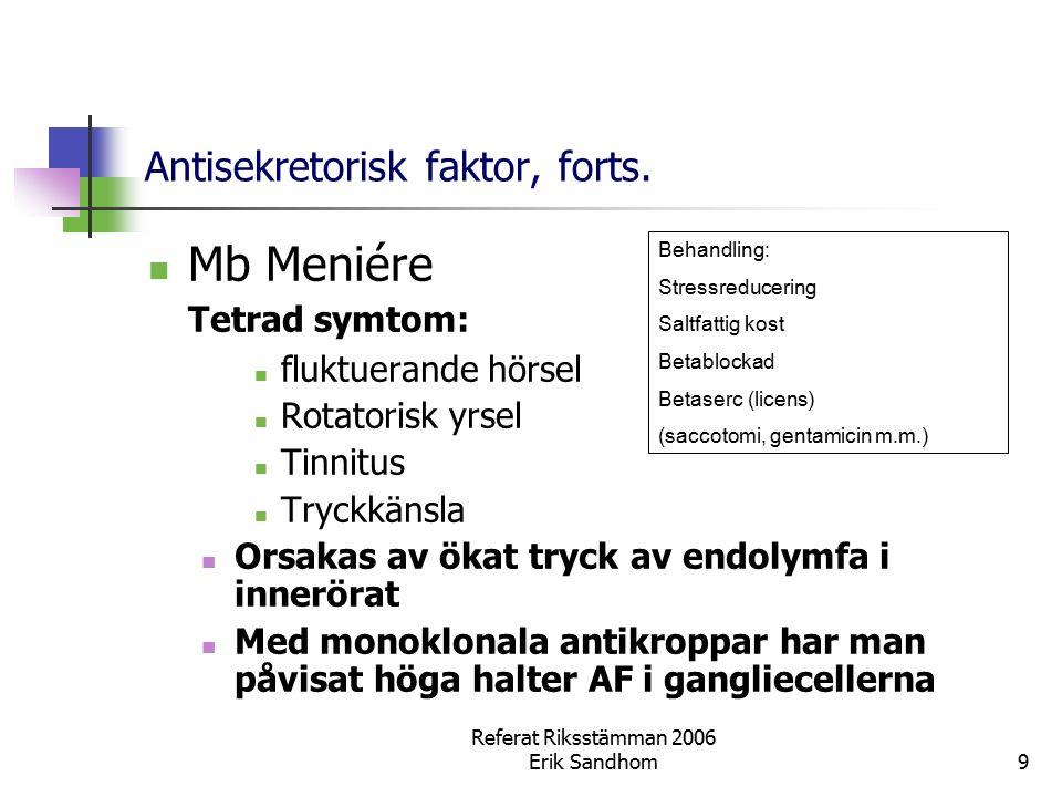 Referat Riksstämman 2006 Erik Sandhom9 Antisekretorisk faktor, forts. Mb Meniére Tetrad symtom: fluktuerande hörsel Rotatorisk yrsel Tinnitus Tryckkän