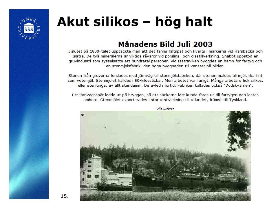 Akut silikos – hög halt 15110521