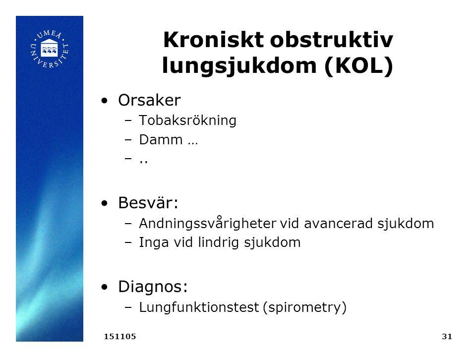 Kroniskt obstruktiv lungsjukdom (KOL) Orsaker –Tobaksrökning –Damm … –..