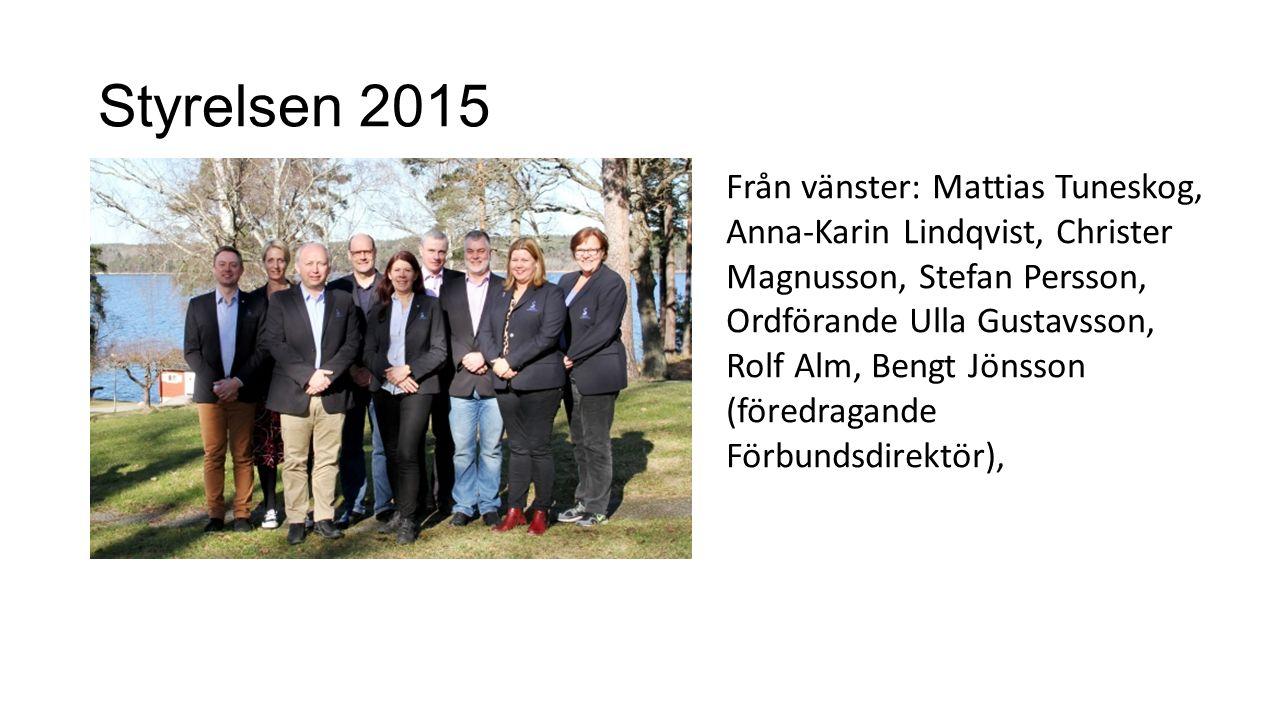 Styrelsen 2015 Från vänster: Mattias Tuneskog, Anna-Karin Lindqvist, Christer Magnusson, Stefan Persson, Ordförande Ulla Gustavsson, Rolf Alm, Bengt Jönsson (föredragande Förbundsdirektör),