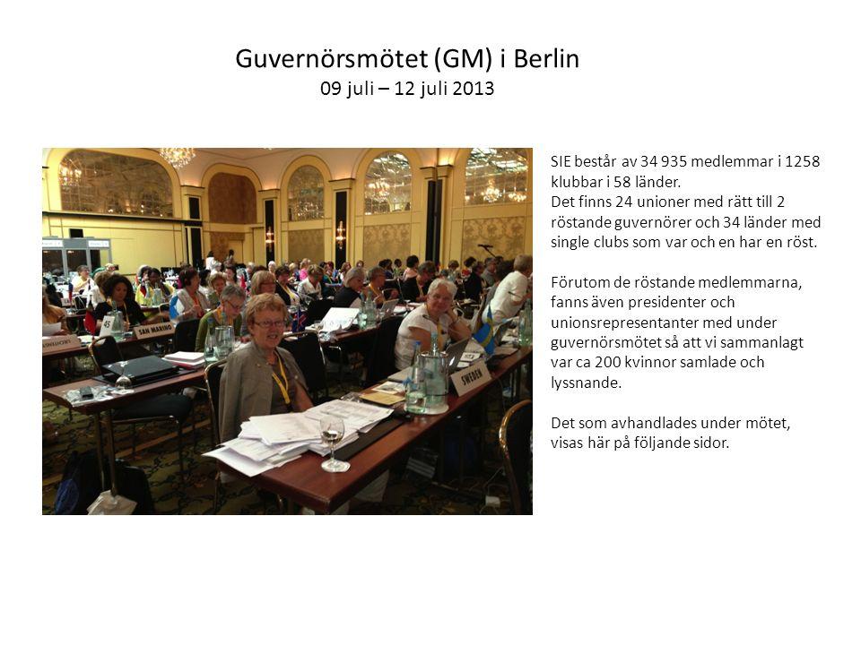 Guvernörsmötet (GM) i Berlin 09 juli – 12 juli 2013 SIE består av 34 935 medlemmar i 1258 klubbar i 58 länder.