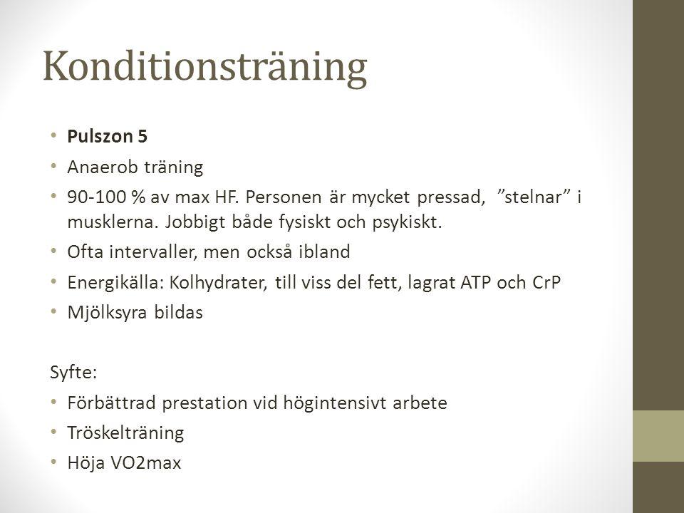 Konditionsträning Pulszon 5 Anaerob träning 90-100 % av max HF.