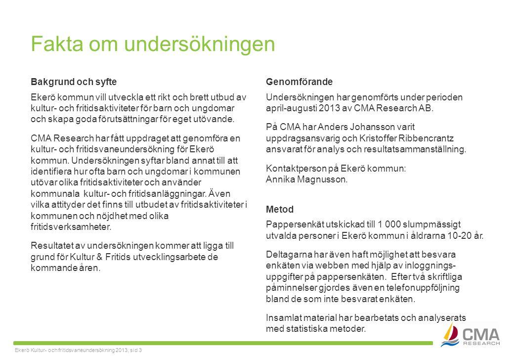 Ekerö Kultur- och fritidsvaneundersökning 2013, sid 3 Fakta om undersökningen Bakgrund och syfte Ekerö kommun vill utveckla ett rikt och brett utbud av kultur- och fritidsaktiviteter för barn och ungdomar och skapa goda förutsättningar för eget utövande.