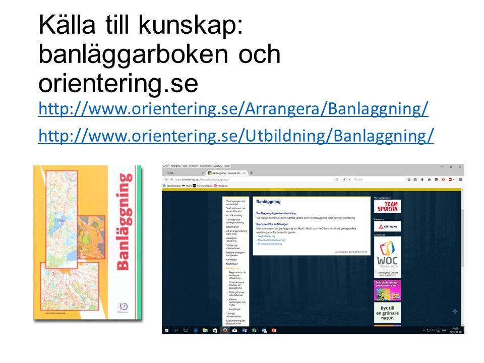 Källa till kunskap: banläggarboken och orientering.se http://www.orientering.se/Arrangera/Banlaggning/ http://www.orientering.se/Utbildning/Banlaggning/