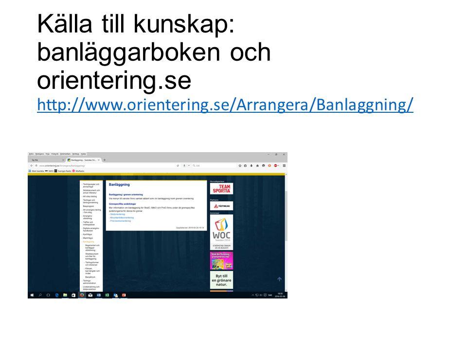 Källa till kunskap: banläggarboken och orientering.se http://www.orientering.se/Arrangera/Banlaggning/