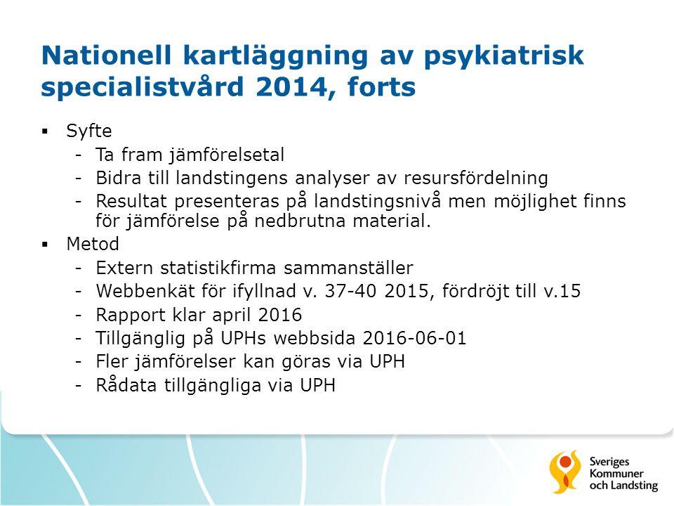 Nationell kartläggning av psykiatrisk specialistvård 2014, forts  Syfte -Ta fram jämförelsetal -Bidra till landstingens analyser av resursfördelning -Resultat presenteras på landstingsnivå men möjlighet finns för jämförelse på nedbrutna material.