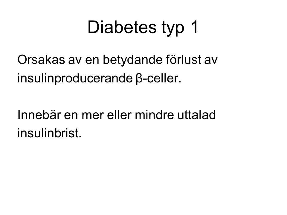 Diabetes typ 1 Orsakas av en betydande förlust av insulinproducerande β-celler.