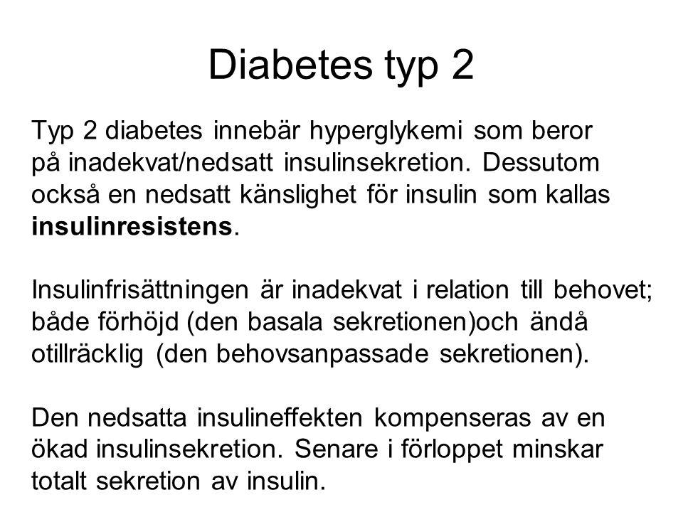 Diabetes typ 2 Typ 2 diabetes innebär hyperglykemi som beror på inadekvat/nedsatt insulinsekretion. Dessutom också en nedsatt känslighet för insulin s