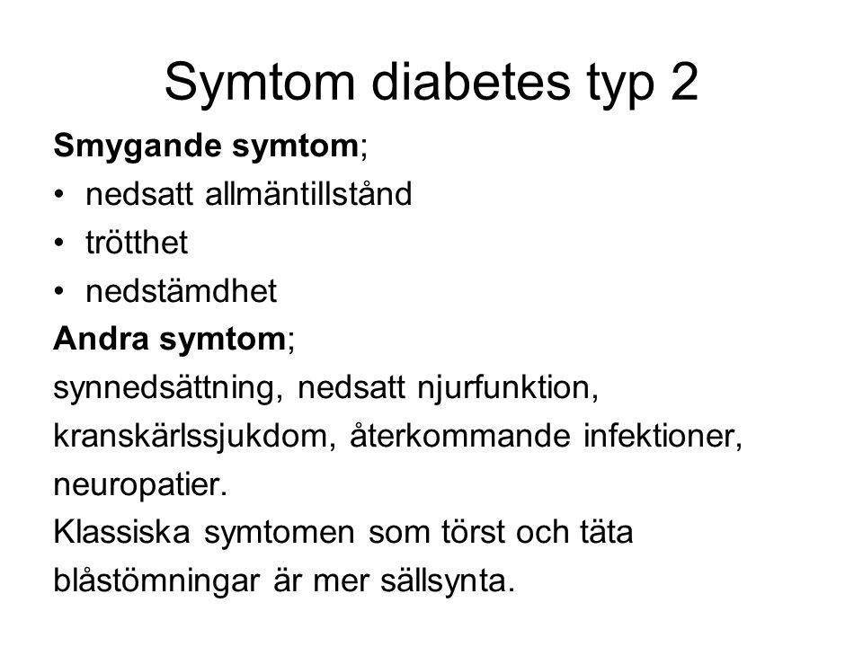 Symtom diabetes typ 2 Smygande symtom; nedsatt allmäntillstånd trötthet nedstämdhet Andra symtom; synnedsättning, nedsatt njurfunktion, kranskärlssjukdom, återkommande infektioner, neuropatier.