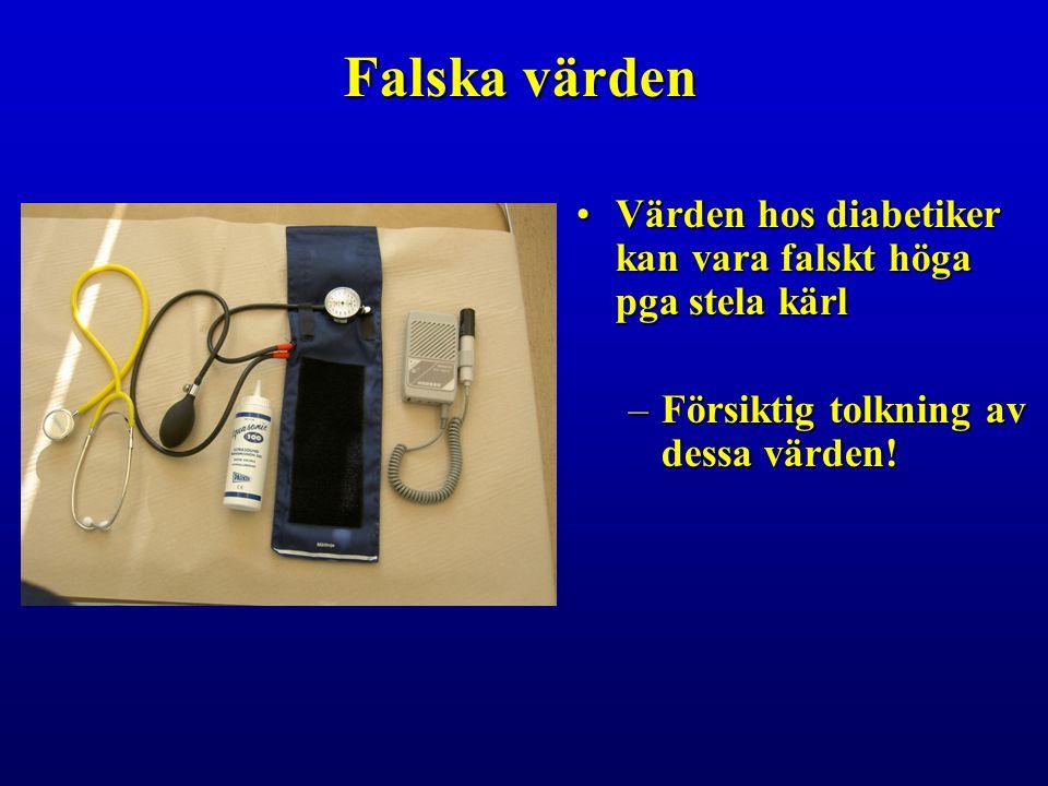 Falska värden Värden hos diabetiker kan vara falskt höga pga stela kärlVärden hos diabetiker kan vara falskt höga pga stela kärl –Försiktig tolkning av dessa värden!