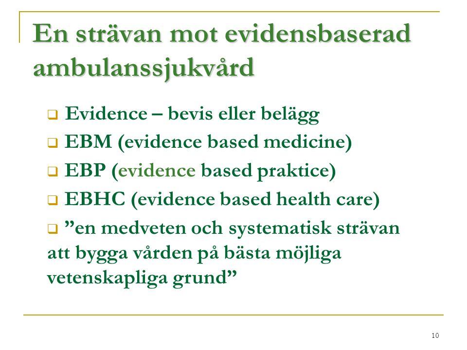 10 En strävan mot evidensbaserad ambulanssjukvård  Evidence – bevis eller belägg  EBM (evidence based medicine)  EBP (evidence based praktice)  EBHC (evidence based health care)  en medveten och systematisk strävan att bygga vården på bästa möjliga vetenskapliga grund